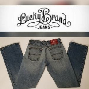 Lucky Brand Flare Leg Ripped Distressed Dungarees